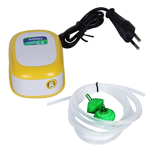 SOBO AQUARIUM AIR PUMP WITH AIR STONE AND AIR TUBE 3 MTR. BY JAINSONS  available at amazon for Rs.240