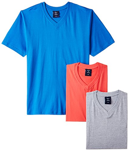 Albert and James Men's T-Shirt (Pack of 3) (AJ1001_Red, Royal Blue and Light Grey_42)