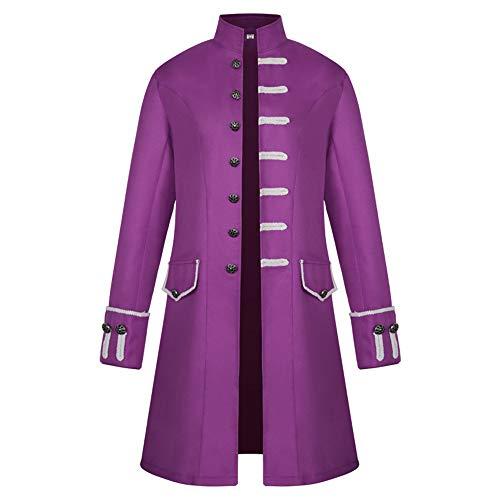 BEIXUNDIANZI Mantel Jacke Männer Langarm Gothic Gehrock Uniform Kostüm Party Oberbekleidung Langer Uniformkleid Vintage Punk Stil Karneval Uniform Cosplay Kostüm Outwear ZZZ-Purple M