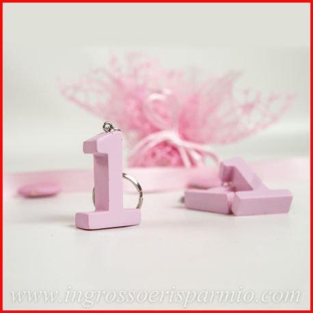 Ciondolo/portachiavi in resina colorata rosa a forma di numero 1 completa di ciondolo da appendere da femminuccia - Bomboniera fai da te primo compleanno, aprifesta, gadget (kit 12 pz)