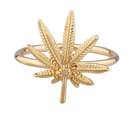 Lux Accessories Ring, Design: Marihuana-Blatt, goldfarben (Lux Ringe)