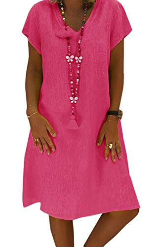 4be231a3411193 Yidarton Sommerkleid Leinen Kleider Damen V-Ausschnitt Strandkleider  Einfarbig A-Linie Kleid Boho Knielang