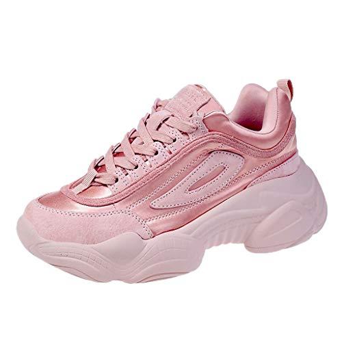 Saihui Damen Schnürer Freizeitschuhe Straßenlaufschuhe Gym Fitness rutschfeste Sneakers Sportschuhe Plateauschuhe Air Cushion Women's Running Shoes (EU:36, Rosa)