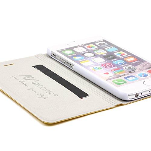 URCOVER Housse Etui Portefeuille pour Apple iPhone 6 / 6s Plus | Coque Wallet de protection á Rabat | Cover Ultra Mince Compartiment de Cartes et Support Intégré en Marron Clair Jaune