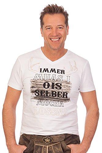 MarJo Leder & Tracht Trachten Herren Shirt - UROS - Weiß, Größe XL