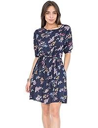 Skater Dress in Floral Print Blue