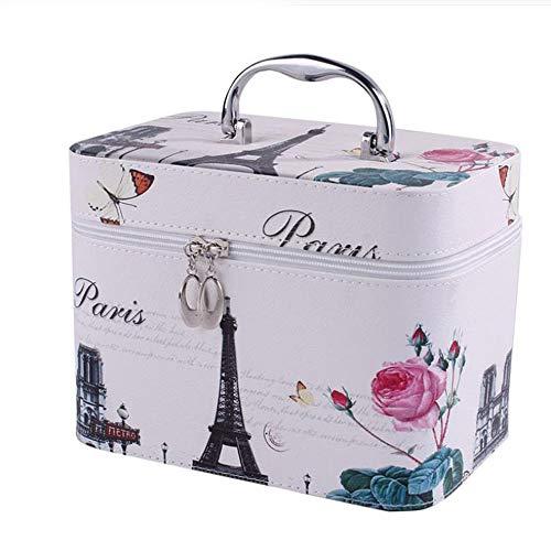YUEMING Make-up-Tasche, Kosmetiktasche, Kosmetiktasche, Lotus und Eiffelturm, mit Griff, tragbare Kulturtasche Mehrfarbig Mehrfarbig S -