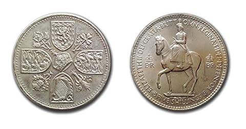 Sammler Münzen - Stempelglanz 1953 Queen Elizabeth II Crown Münze