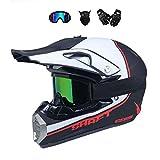 BMAQ Crosshelm Motocrosshelm Weiß Skull Schädel Cross BMX Enduro Helm mit Visier Brille Handschuhe...
