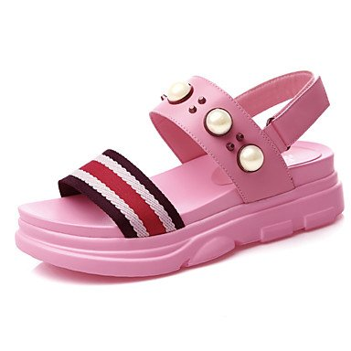 zhENfu Women's Sandals Summer Creepers Cowhide Casual Creepers Blushing Pink Black White Blushing Pink