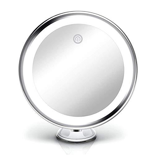 Fancii Espejo de Aumento x10 y Luz LED Diurna y Ventosa, USB y Pilas - Espejo de Maquillaje Iluminado...