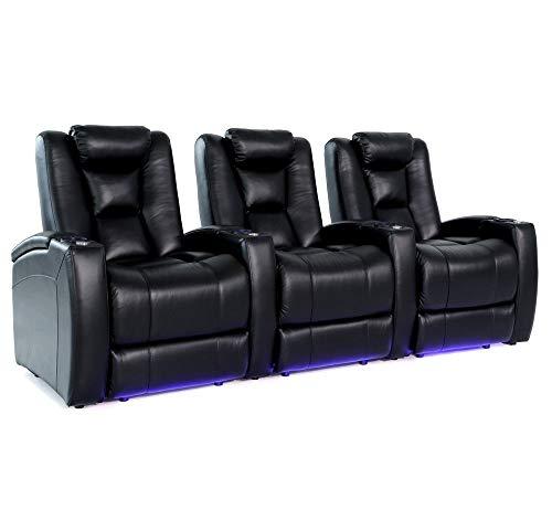 Zinea Kinosessel King - 3 Sitzer - Premiumleder, elektrisch verstellbar, LED Becherhalter, Ambientebeleuchtung, Kinosofa, Kinositz - Sofort Lieferbar