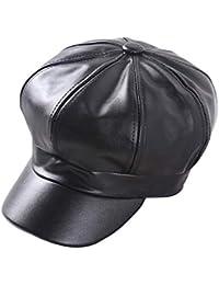 625141bca6503 WETOO Womens Wide Brim Beret Cap Vintage Leather Newsboy Hat for Ladies