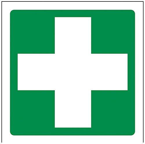 """vsafety 31028af-r \""""Erste Hilfe Logo\"""" Erste Hilfe Allgemeine Zeichen, starrer Kunststoff, eckig, 100mm x 100mm, grün"""