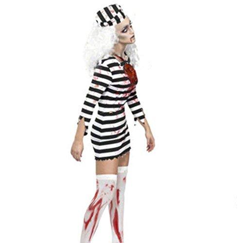 Moojm Frauen Gefangene Rollenspiel Cosplay Uniform Horror-Häftling Outfit Streifen Fantasie Für Halloween-Party-Kostüm