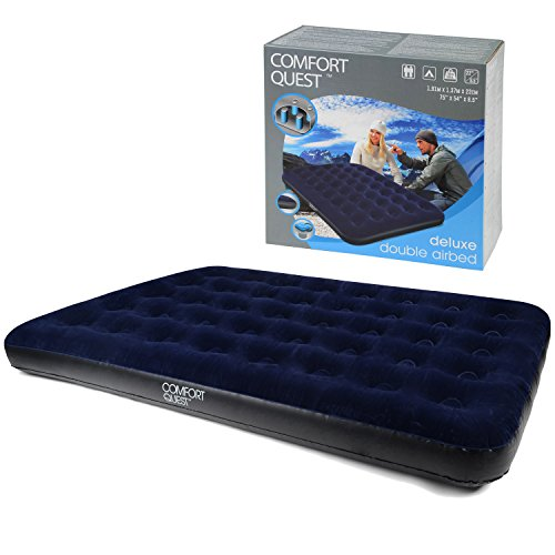 41J2M1DzcoL. SS500  - Comfort Quest Double Airbed, Inflatable Guest Air Bed, Blow Up Camping Mattress, Flocked Surface, Coil Beam Construction, L191cm x W137cm x D22cm, Max Weight 295kg