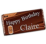 Personalised Happy Birthday 110g Milk Chocolate Bar ~ 16th 18th 21st 30th 40th 50th 60th 70th 80th Birthday Gift Present Idea N42 - Any Age for him her Mum Dad Brother Sister