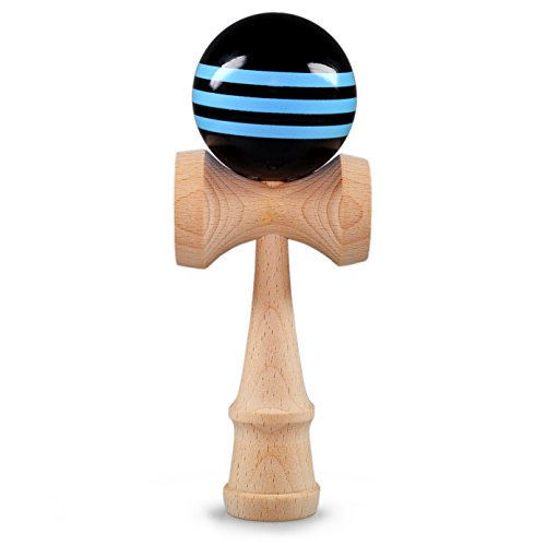 Kendama bola de madera de haya, aprox. 6cm de diámetro, azul/negro oberflächenlackiert, japonés tradicional Madera Bola de juguete, Juego, Juego de habilidad, marca Ganzoo (Azul/Negro)