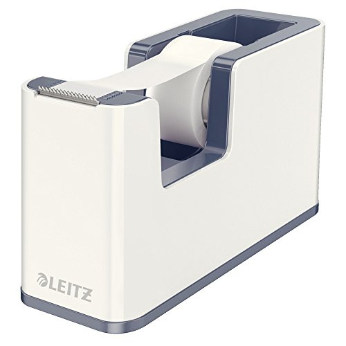 Leitz, Klebeband-Tischabroller, Fester Stand, Inkl. Kleberollen, Perlweiß/Grau, WOW, 53641001