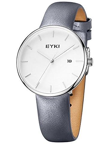 Alienwork Quartz Watch elegant Wristwatch stylish Leather white gray YH.E1056L-01