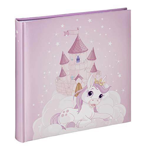 Hama Fotoalbum Joana (Kinder Fotobuch mit 50 Seiten, für 100 Fotos im Format 10x15, Prinzessinen-Design mit rosa Pony-Motiv, 25x25cm) Bilderalbum pink