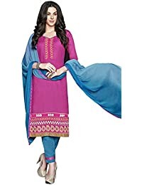 LAVIS Women's Cotton Dress Material (Ranisak101_Free Size_Pink)