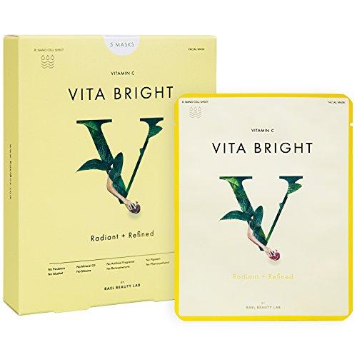 Rael, Gesichtsmaske mit Vitamin C, Vita Bright, 5 Blatt,Antioxidantien-Gesichtsmaske sorgt für Aufhellung / Glanz / Verfeinerung,optimal bei glanzloser / pigmentierter Haut (Alkohol-extrakt Von Blatt Frei)