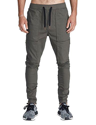 Italy Morn Herren Cargo Chino Hose Sweatpants Sporthose Jogging Baggy Jogginghose Slim Trainingshose Cargo Pants Twill Schwarz (S, Dunkelgrau) (Hose Twill Jeans)