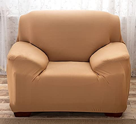Sofa Bezug 1234-Sitzer-Bettüberwurf Sessel Easy Stretch Elastischer Stoff Sofa Couch Cover Protector Pure Color, camel, 1 Seater:90-140cm