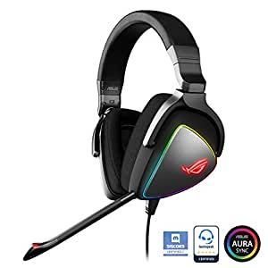 Asus ROG Delta Cuffie Gaming, Quad-DAC, Aura Sync RGB Circolare, Compatibile con PS4, Type C