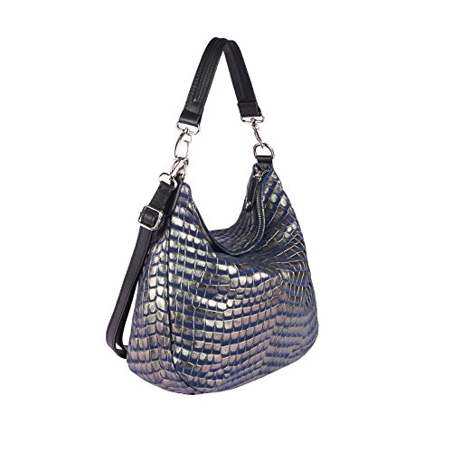 OBC Only-Beautiful-Couture, Borsa tote donna argento Silber 43x35x15 cm ca.: 43x35x15 cm (BxHxT) blu scuro-oro