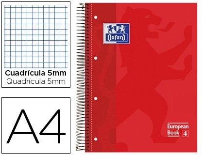 Preisvergleich Produktbild Oxford Spiralblock Deckel extradura mikroperforiert DIN A480Blatt kariert 5mm rot