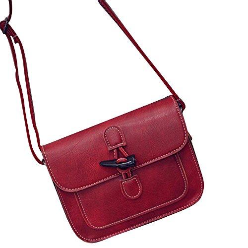 Ouneed® Femmes Vintage Sac a Main Bandoulière en Cuir Messenger Bag (Rouge) Rouge