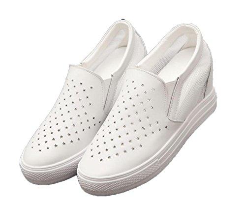 WZG H枚here Schuhe wei脽e Schuhe im Fr眉hjahr und Sommer weibliche koreanische Version der beil盲ufigen Schuhe Steigung mit einem einzigen Schuh Schuhe White