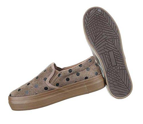 Damen Halbschuhe Schuhe Slipper Schwarz Hellbraun