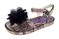Girls Jelly Sandals Shoes Kids Flat Summer Beach Flower Jellies Kids Black Size UK 9
