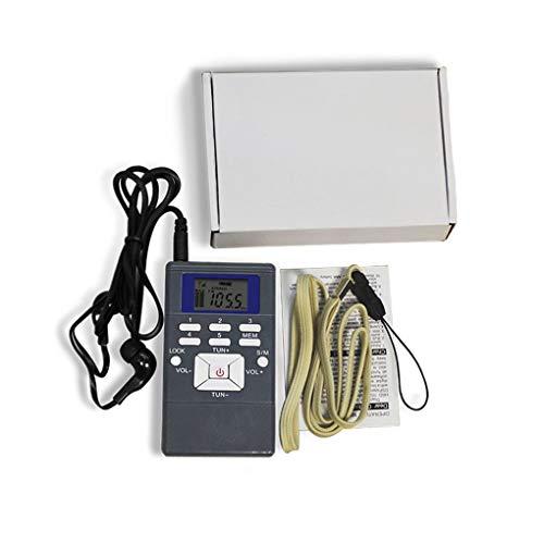 Busirde Mini Dual Channel Single Band Digital-FM Radio- -Bildschirm Pocket Radio mit Kopfhörern grau 93 * 53 * 14mm - Dual-channel-kopfhörer