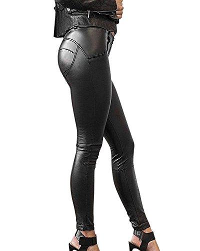 Minetom Mujeres Pu Cuero Enjutos Leggins Treggins Cintura Alta Skinny Elásticos Lápiz Jeggings Leggings Cadera De Pantalones Largos Negro EU XS