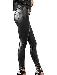 Minetom Femmes Sexy Taille Haute Moulante Élastique Leggings Aspect Cuir PU  Crayon Slim Collants Sport Danse 1cb1eee8dcfd