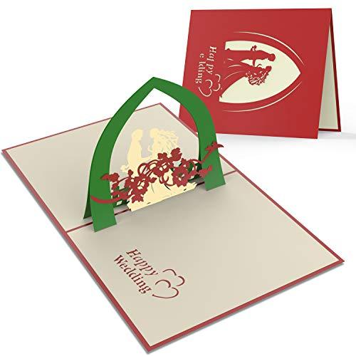 2 Stück Hochzeit Karte handgemachte 3D Pop-up romantische Hochzeitstag Karte für Paare spezielle Karte für Herzlichen Glückwunsch und Einladung Hather