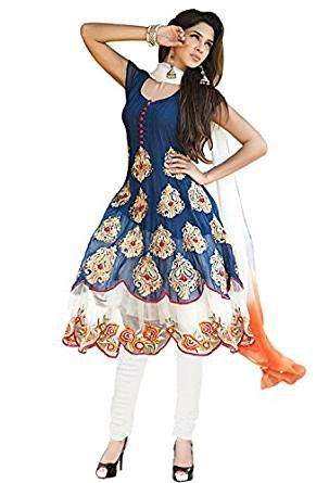 Shiv Fashion Women\'s Georgette Semi-Stitched Anarkali Suit (Shivmor0_Blue_Free Size)
