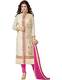 Belleza Designer Cream & Rani Pink Pure Cotton With Embroidery Craft-work Semi-Stitched Salwar Suite. ( Free Size)