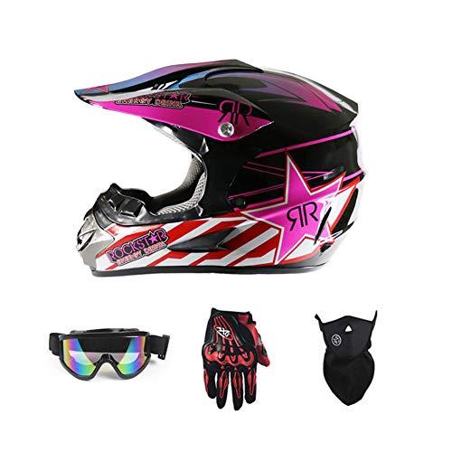 LEENY Motocross Helm Herren Crosshelm mit Brille Handschuhe Maske Vier Jahreszeiten Unisex, Motorradhelm DH Enduro Quads Motorrad Offroad-Helm für Erwachsene Männer Frauen,Pink,S