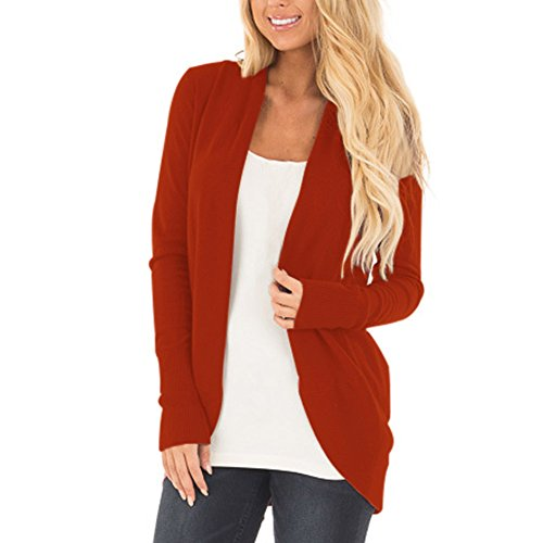MEI&S Women's Casual Veste tricot Pull Manteau Cardigan Brick Red