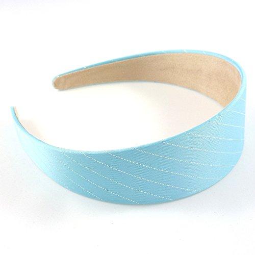 rougecaramel - Accessoires cheveux - Serre tête/headband large uni avec rayure argent - bleu ciel