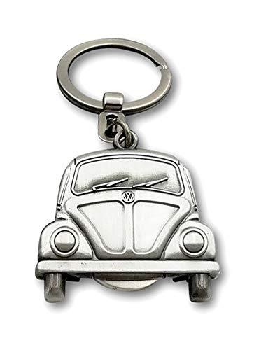 Brisa VW Collection VW Käfer Schlüsselanhänger mit Einkaufswagenchip in Geschenkdose - Antiksilberoptik