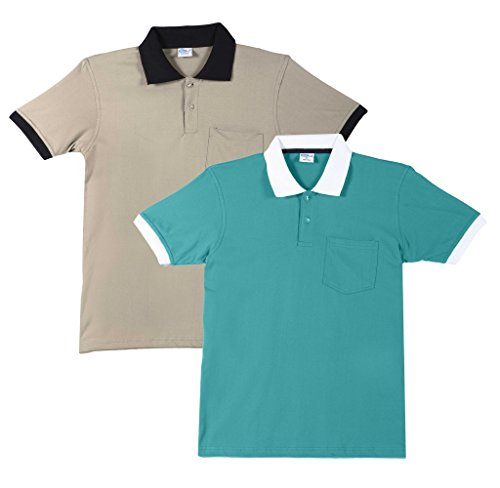 FLEXIMAA Men's Cotton Polo Collar T-Shirts with Pocket Opposite Color Collar & Cuff (Pack of 2) - Shade Green & Biscuit Colors.