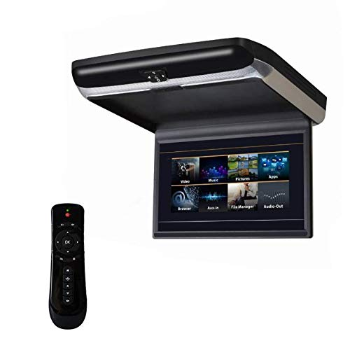Hahaiyu 13,3 Zoll Android Flip Down Monitor-4K Auto Vollansicht Mp5 Player Auto TV Quad-Core, Unterstützung WiFi Hotspot, Bluetooth, USB + TF + HDMI + FM + Boot LGOO,Black (Flip-down-auto-tv)