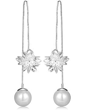 Unendlich U Modisch Eisblume Damen Durchzieher 925 Sterling Silber Perle Ohrhänger Ohrringe DIY Ohrstecker Ohrschmuck...