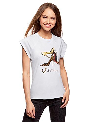 oodji Ultra Damen Tagless Baumwoll-T-Shirt mit Druck und Unbearbeitetem Saum, Weiß, DE 40/EU 42/L (Tagless Rundhalsausschnitt T-shirt)
